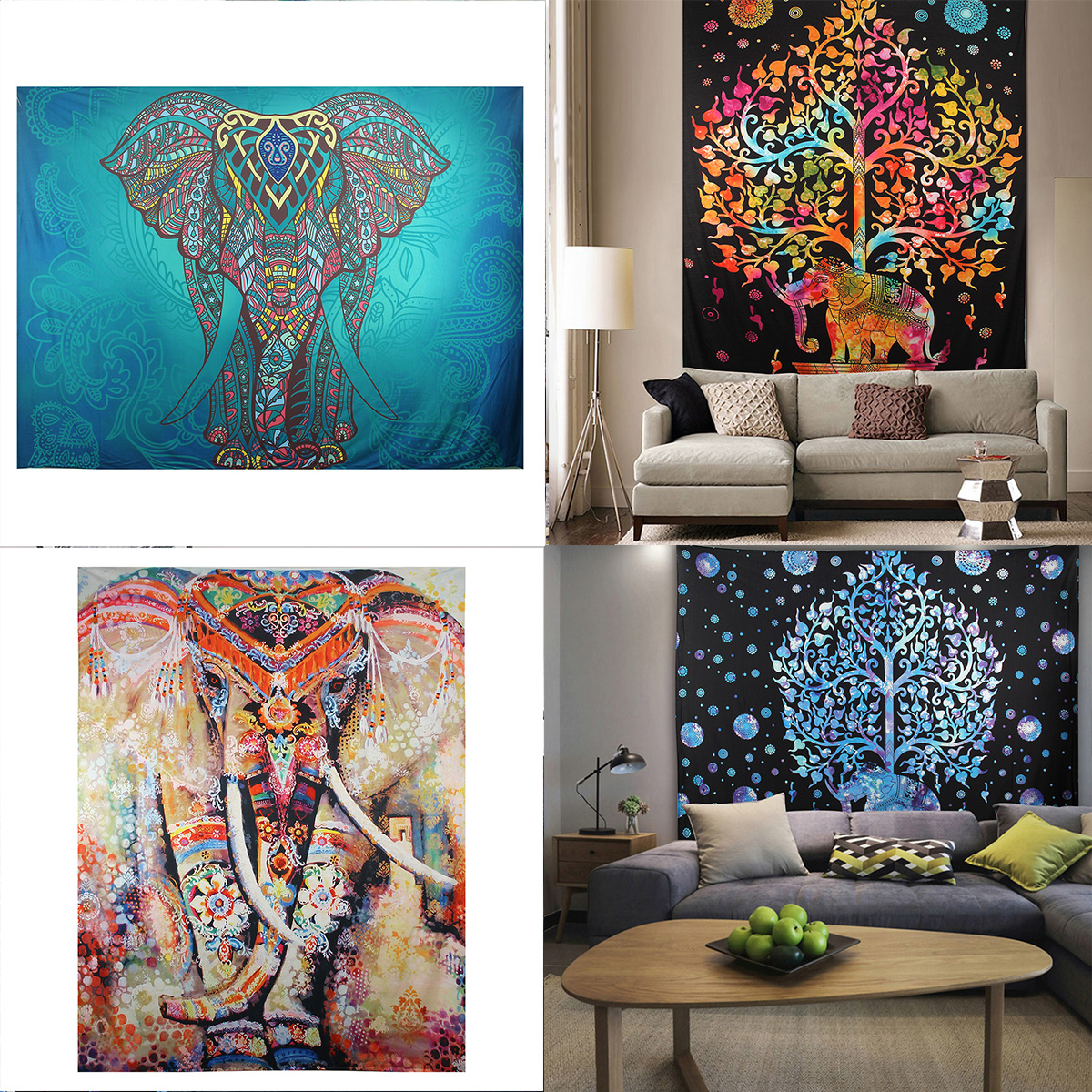 Elephant Mandala Tapestry Throw Towel Hippie Tapestry Floral Printed Home Decor Wall Tapestries Bedspread 210*150CM 3