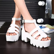 The 2016 tide fish mouth thick Heels Sandals slip female summer muffin slope with new fashion shoes Rome band