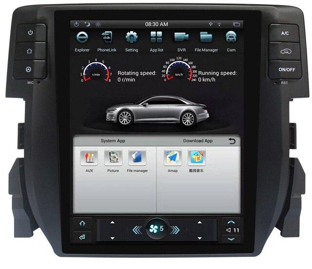Tesla Vertical Screen Android System Car Radio DVD GPS Navigation For Honda  Civic 2016 2017 2018