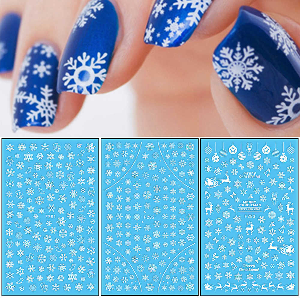 1 Pcs 3D Nail Sticker Christmas Theme Pattern Mixed Deer/Snowflake Image Tips Nail DIY Decoration Sticker Decal LAF281-284