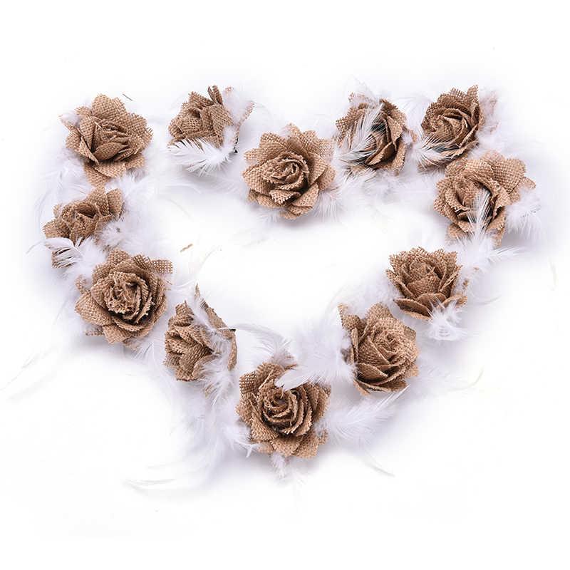 2 ขนาดDIY HandmadeทารกแรกเกิดHeadbandผ้าพันคอผมJuteดอกไม้งานแต่งงานตกแต่งบ้านเครื่องประดับSupply