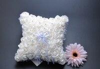 Cremoso bianco Strass Pearl Fiocco Pizzo Rosa Satin Bridal Ring Bearer Pillow In Rilievo Cerimonia di Nozze Favori Box
