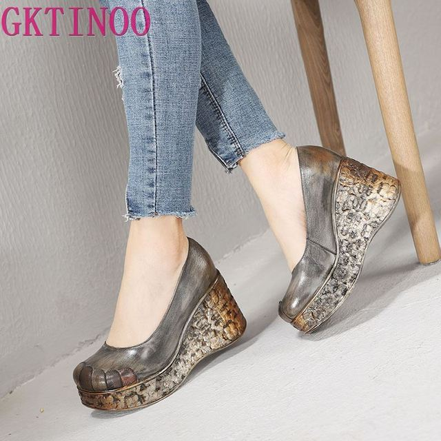 GKTINOO New Thick Sole Wedges Heels Spring and Summer Womens Shoes Shallow Mouth Genuine Leather Handmade Retro Platform Pumps