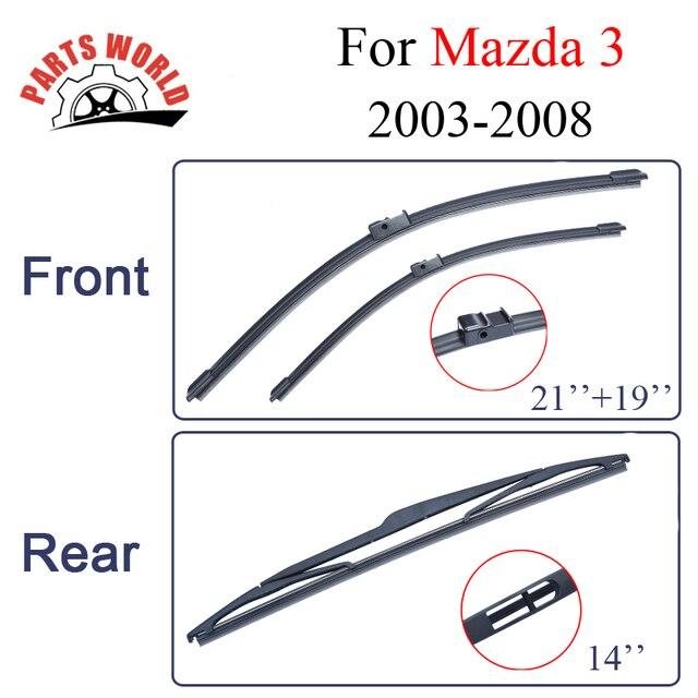 Balais dessuie-glace avant et arrière | Pour Mazda 3 2003 2004 2005 2006 2007 2008, accessoires de voiture pour pare-brise