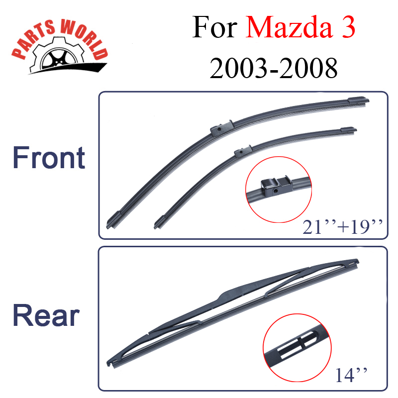 Front And Rear Wiper Blades For <font><b>Mazda</b></font> <font><b>3</b></font> 2003 <font><b>2004</b></font> 2005 2006 2007 2008 Windscreen Car Accessories image