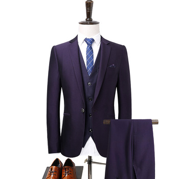 Men's suit men's fashion casual single button suit three-piece suit (jacket + pants + vest) wedding groom groomsmen dress