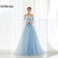 New Arrival Off the shoulder A Line Evening dress 2018 Sky blue Flower Beading Evening gowns Kaftan Formal dress Plus size