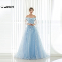 New Arrival Off the shoulder A Line Evening dress 2019 Sky blue Flower Beading Evening gowns Kaftan Formal dress Plus size