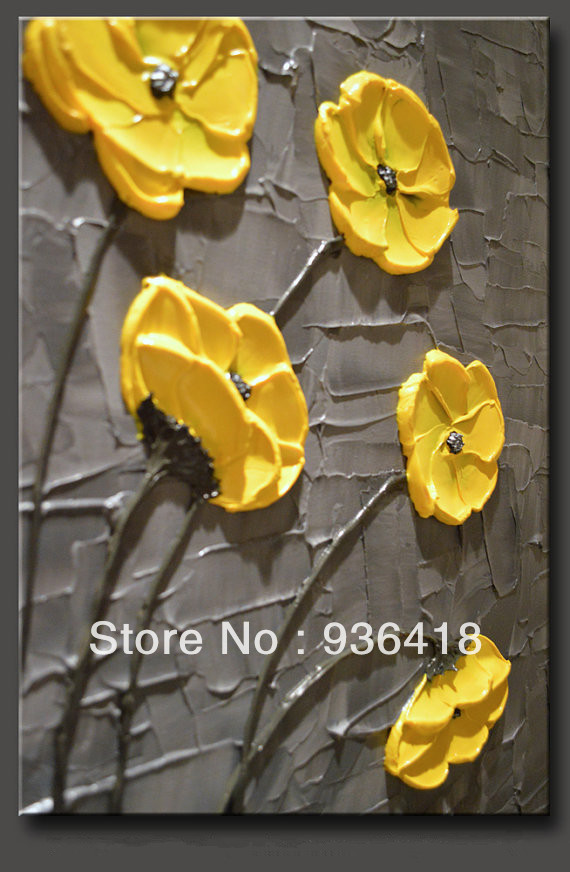 Custom Large Painting Impasto Texture Painting on Canvas Yellow&Grey ...