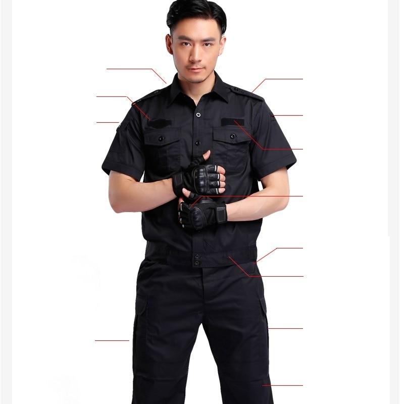 US $504 0 |(10 set shirt&pant)security guard combat uniform suits the hotel  property a black jacket security summer wear work uniform sets-in Military