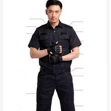 (10 set-shirt&pant)security guard combat uniform suits the hotel property a black jacket security summer wear work uniform sets