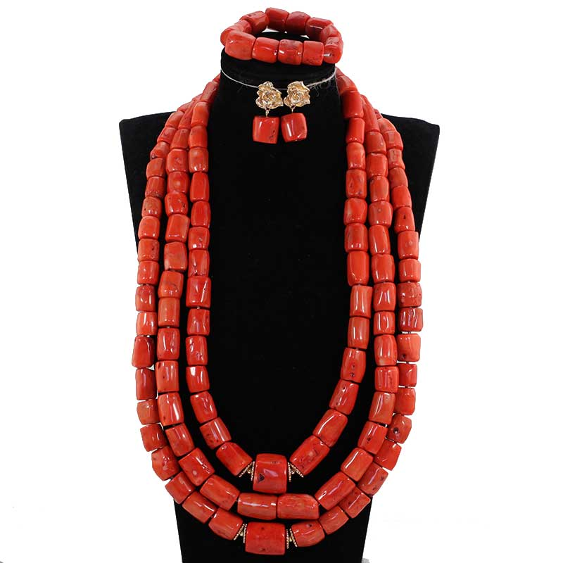 HTB1GplLpHGYBuNjy0Foq6AiBFXa1 Luxury 3 Layers Red Coral Nigerian Wedding African Beads Jewelry Set 45 inches Gold and Coral Long Statement Necklace Set CNR853