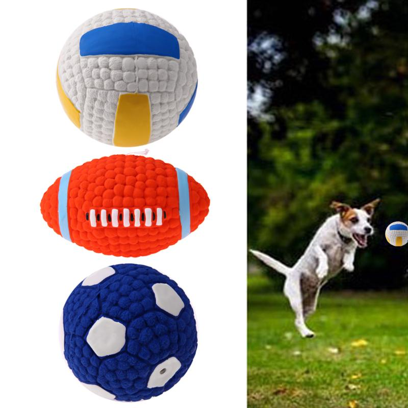Common Truth Pet Dog Rubber Ball Toys Sound Squeaker Squeaky Toy Football/Volleyball/Rugby Balls Chew Toys for Big Large Dog