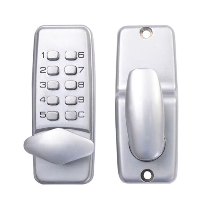 AYHF-Digital mechanical code lock keypad password Door opening lock mechanical code door lock digital machinery keypad password entry lock stainless steel latch zinc alloy silver 1718