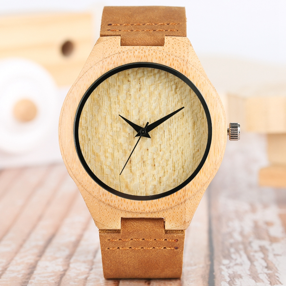 Bamboo Clock Handmade Leather Strap Watches Women Casual Quartz Wristwatch Wooden Watches 2018 Men relogio masculino (28)
