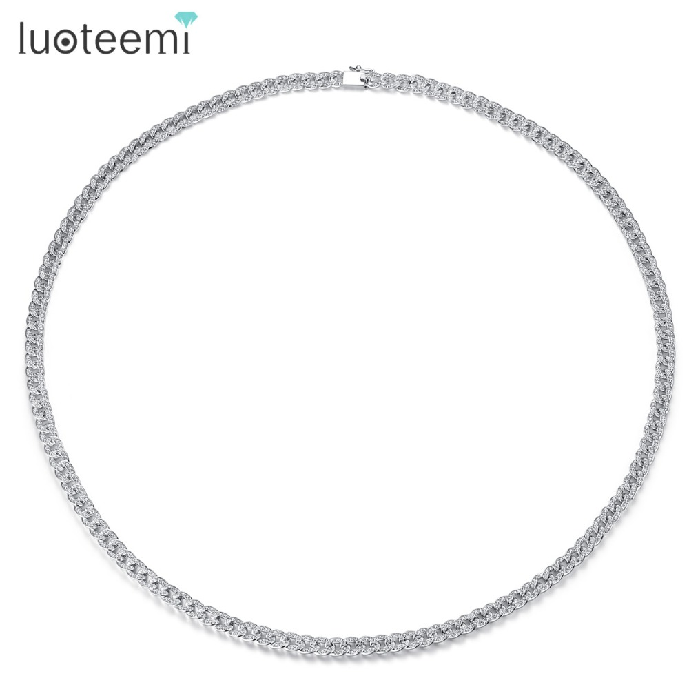 LUOTEEMI Fashion White Gold Color Luxury Cubic Zirconia Choker Necklace For Women Men Cuba Link Chain Necklaces Jewellery Gifts chran new fashion luxury vintage style jewellery multi layer string twist faux pearl choker necklaces&pendants gifts