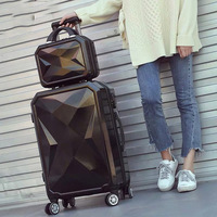 Woman rolling travel suitcase Set 14inch Cosmetic bag Diamond face 20/26/28inch carry on trolley case Travel luggage travel bags