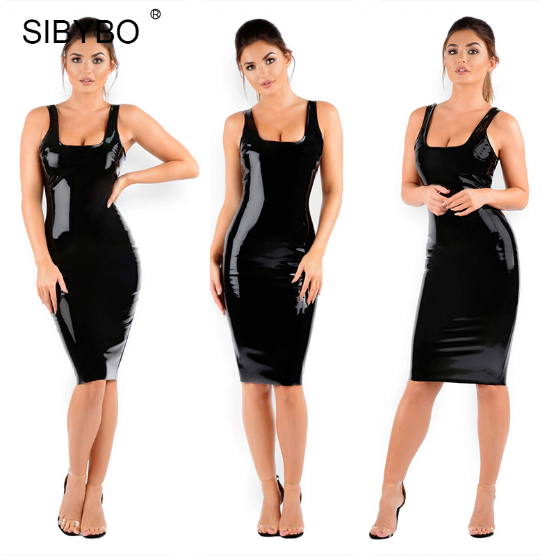 99fd66afb8c Sibybo Shiny PU Faux Leather Dress Women 2019 Sexy Ruched Sleeveless Black  Bodycon Tank Summer Dress Party Clubwear Vestidos-in Dresses from Women s  ...