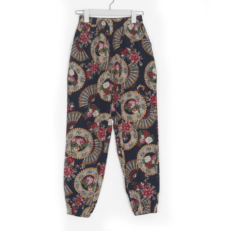 0be2c2d9b69 2018 Spring Summer Women Casual Printed Cotton Linen Pants Ethnic Lantern  Pants Stretch Waist Plus Size