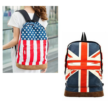 e0d0b04903be Hot Products Fashion Hot Sale Unisex Punk School Book Campus Packbag UK/USA  Flag Canvas Backpack
