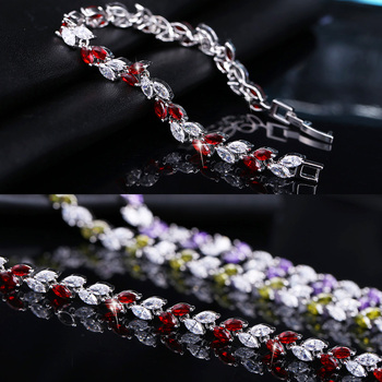 New Trendy 2020 Cubic Zirconia Leaf Charm  Bracelets Bangles for Women Jewelry Silver Color  CZ Crystal Female 2