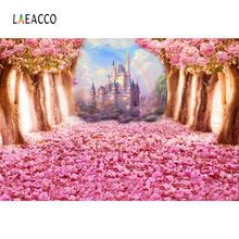 Laeacco Fairy Tale Forest Tree Flowers Castle Rainbow Photography Backgrounds Customized Photographic Backdrops For Photo Studio