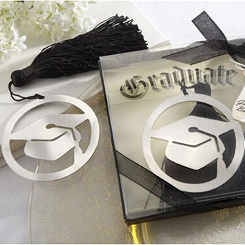 New Arrival 50 pcs Silver doctorial hat Bookmark trencher cap Bookmark Graduation party favors Student Bithday