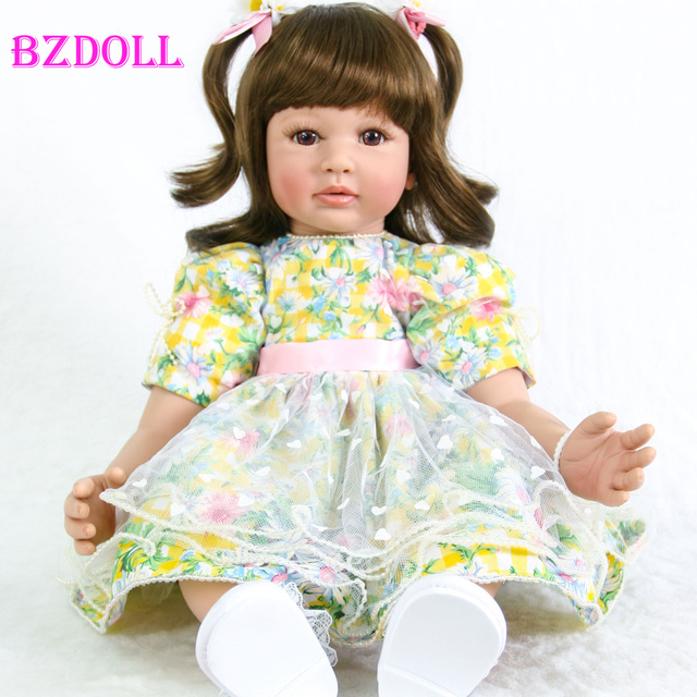 60cm Silicone Reborn Baby Doll Toys Like Real Vinyl Princess Toddler Girl Babies Doll Lovely Birthday