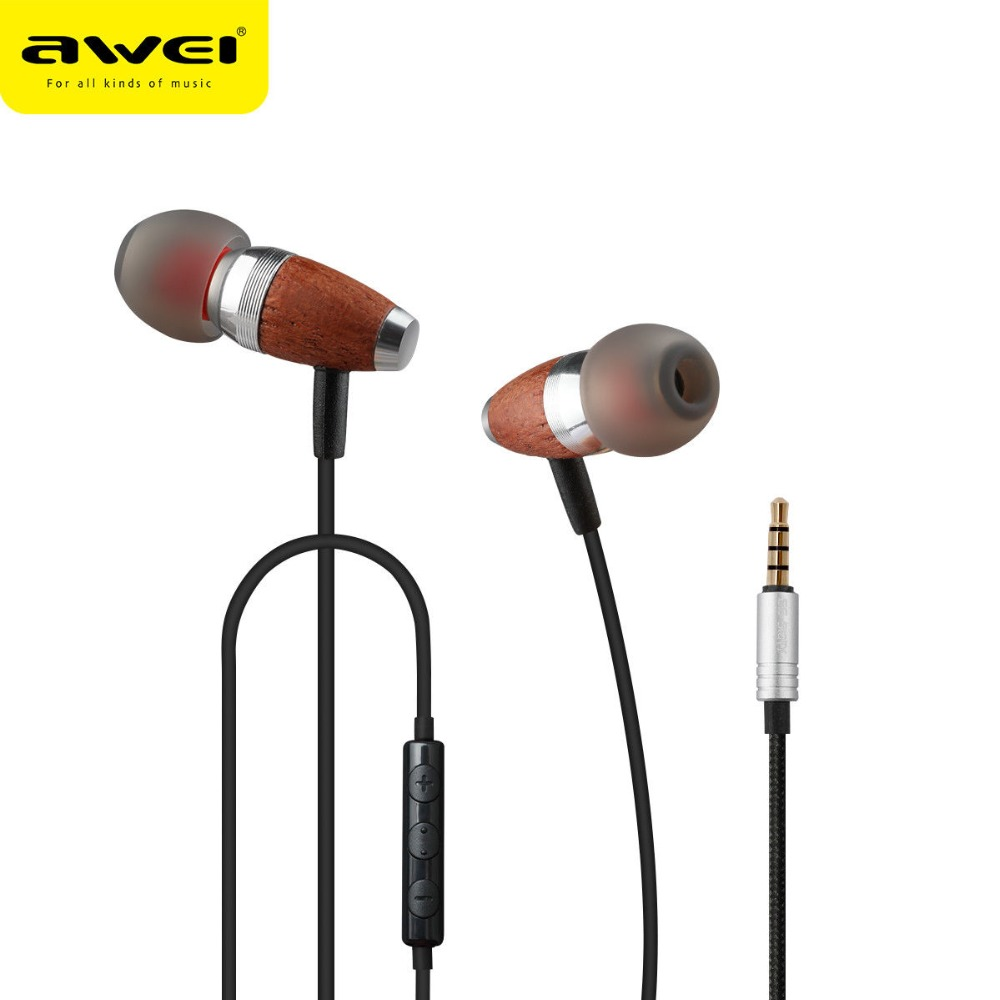 Awei-ES-60TY Wooden Noise Isolation In Ear Earbuds EarphonesSports Earphones with Microphone Cancelling For Phone