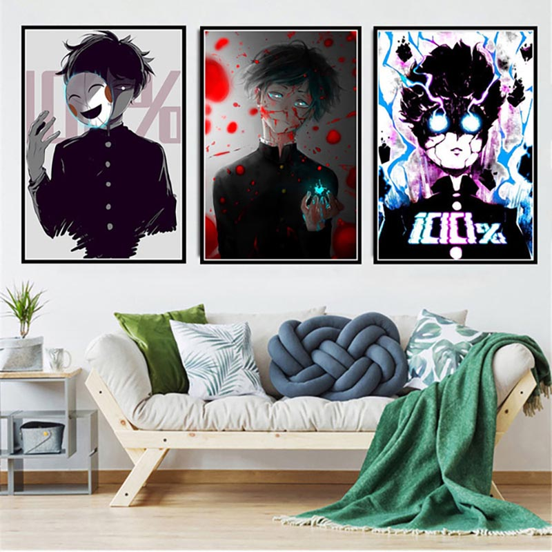 Printed Pictures Home Decoration Wall Artwork Mob Psycho 100 Nordic Style Modular Japan Anime Poster Canvas Painting Living Room