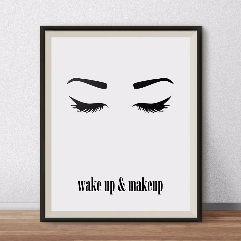 graphic regarding Printable Poster named US $6.99 Wake up and Make-up Wall Artwork, Printable Splendor Poster, Eyes Lashes, Style Prints Canvas Minimalist Printings, Ground breaking Dwelling Decor-in just Portray
