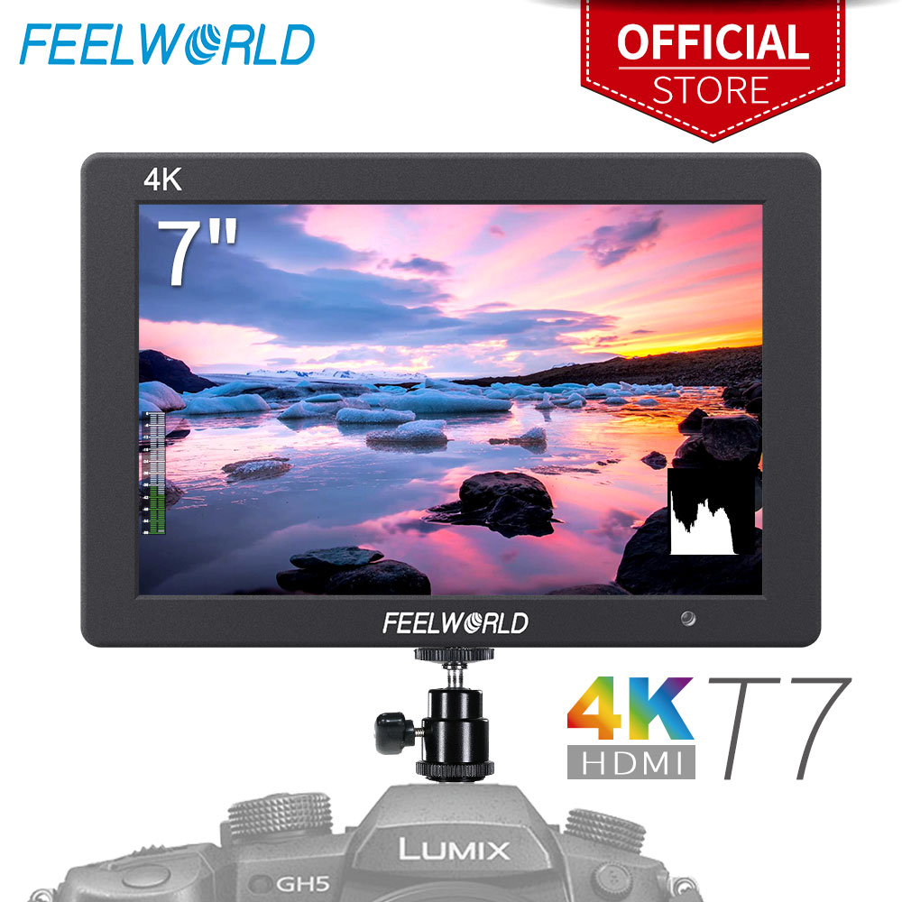 Feelworld T7 7 pouces IPS 1920x1200 HDMI sur le champ de la caméra moniteur prise en charge 4 K entrée sortie moniteur vidéo pour reflex numérique Canon Nikon Sony