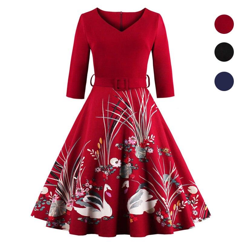 2018 nieuwe print zeven mouwen mouwen vintage jurk Swan gedrukt V hals jurk drie kleur 7 werven nieuwe vrouwen vestidos-in Jurken van Dames Kleding op  Groep 1