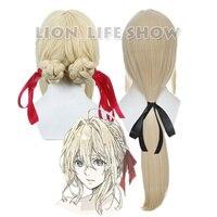 Violet Evergarden Long Ponytail Braid Bun Bangs Blonde Cosplay Full Wig Free Bow