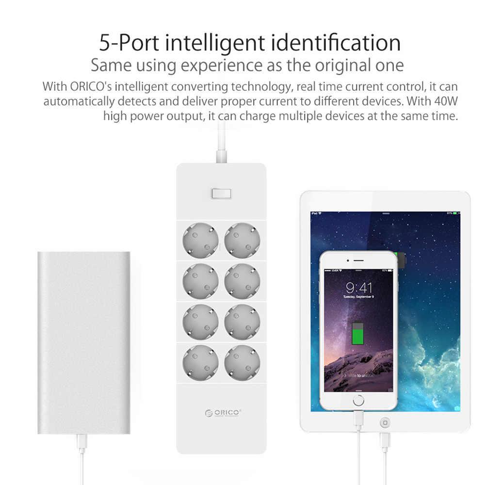 ORICO قطاع الطاقة المقبس 8 المخرج مع 5 USB القياسية التمديد تصاعد حامية قطاع الطاقة 5x2. 4A شاحن يو اس بي منافذ HPC-V1