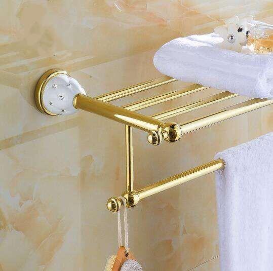 New arrival Towel Racks Luxury Bathroom Accesserries High Quality Golden Finish Bath Towel Shelves Towel Bar bath Towel Rail new high quality comfortable face towel hand towel 3 colours