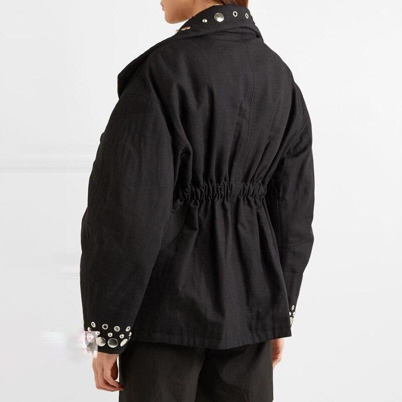 De 2018 Longues Outillage Grand Manteau Femelle Revers Fonds À Hivers Nouveau Veste Noir Taille Rivets Manches vert D'automne Femmes CpE5qcw