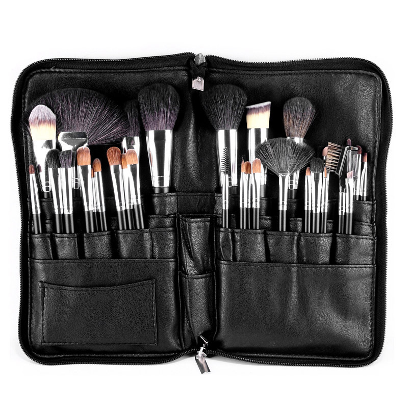 MSQ 32pcs makeup brush animal hair Brush Foundation eye shadow makeup brush PU High capacity zipper Pockets set makeup tool top quality foundation brush angled makeup brush