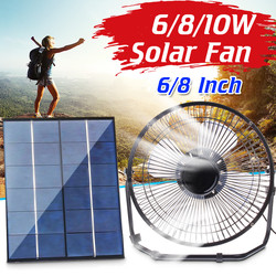 Silent 6W/8W/10W 6/8 Inch Solar Powered Panel Iron Fan Power Bank For Home Office Outdoor Traveling USB Cooling Ventilation Fan