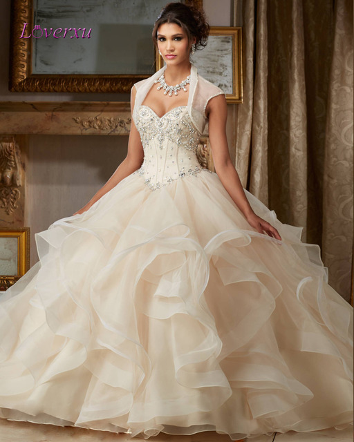 Loverxu Sexy Sweetheart Champagne Ball Gown Quinceanera Gown 2016