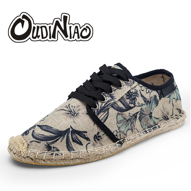OUDINIAO Mens Shoes Footwear Canvas Hemp Breathable Summer Lace-Up Zapatos Hombre