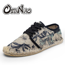 OUDINIAO Mens Shoes Lace Up Espadrilles Men 2019 Summer Canvas Hemp Rope Shoes Men Breathable Men's Footwear Zapatos Hombre