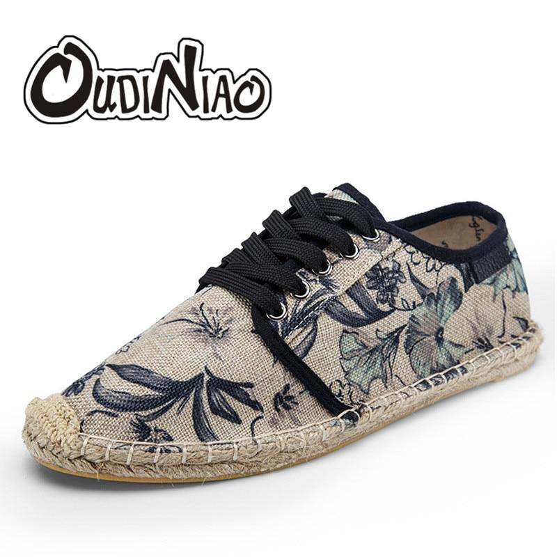 OUDINIAO Mens Shoes encaje alpargatas hombres 2018 verano lona cuerda de cáñamo Zapatos de hombres transpirable Zapatos Hombre