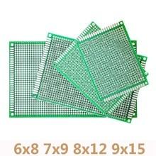 Placa de circuito Universal impresa para Arduino, lote de 20 unidades, 6x8, 7x9, 8x12, 9x15cm, prototipo de doble cara, PCB