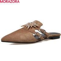MORAZORA niskie obcasy buty Muły mody cztery pory pojedyncze buty rhinestone prawdziwej skóry wskazał palec u nogi kobiet buty