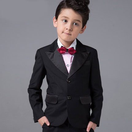 ФОТО High quality Black Classic custom made boy slim fit suit Blazers Retro gentleman style tailor made wedding suits for boy 5 Piece