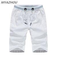 MYAZHOU 5XL Men's Summer Casual Shorts 2019 Solid Color Elastic Waist Fashion Men's Shorts 100% Cotton Brand men Clothing Shorts Men's Casual Shorts