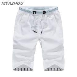 MYAZHOU 5XL мужские летние повседневные шорты 2019 сплошной цвет эластичный пояс модные мужские шорты 100% хлопок брендовая мужская одежда шорты