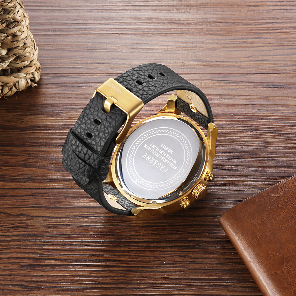 luxury brand cagarny quartz watch for men watches golden case dual time zones dz style watches (8)