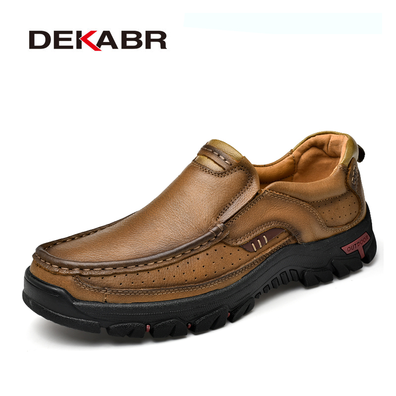 DEKABR Size 38 44 New Genuine Leather Shoes Men Cow Leather Casual Shoes Men High Quality